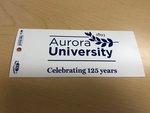 "Bumper Sticker, Adhesive White w/ AU 125th Anniversary Logo 3"" x 11.5"""