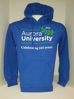 125th Anniversary Hooded Sweatshirt Royal with 125th Anniversary Leaf Logo in Green and White
