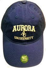 AU Adjustable Hat - EZA washed twill adjustable hat Royal blue w/ Aurora emb arched over interlocking AU over University