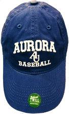 Baseball Hat. Legacy Athletic - EZA washed twill adjustable hat Royal blue w/ Aurora emb arched over interlocking AU over BASEBALL