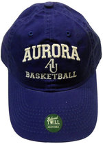 Basketball Hat EZA washed twill adjustable hat Royal blue w/ Aurora emb arched over interlocking AU over BASKETBALL