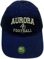 Football Hat EZA washed twill adjustable hat Royal blue w/ Aurora emb arched over interlocking AU over FOOTBALL