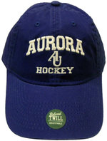 Hockey Hat EZA washed twill adjustable hat Royal blue w/ Aurora emb arched over interlocking AU over HOCKEY