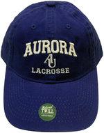 Lacrosse Adjustable Hat - EZA washed twill adjustable hat Royal blue w/ Aurora emb arched over interlocking AU over LaCrosse