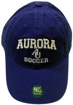 Soccer Hat EZA washed twill adjustable hat Royal blue w/ Aurora emb arched over interlocking AU over SOCCER