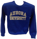 Crew Sweatshirt - Basic Design - CC Aurora University imprint Gray outlined in White