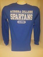 Aurora College Alumni long sleeve t-shirt Aurora College over SPARTANS over Alumni