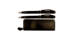Pen & Pencil Set - BK leather zip case w silver pen and pencil set Aurora Univeristy in silver