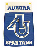 """AU Garden Flag 12"""" X 18"""" - Side of Flag features Aurora in RY on WH - Flag features AU interlocked letters over Spartans in WH on RY"""
