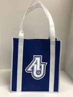 Custom Grocery Tote Bag Royal Blue with White Handles Full Leaf Logo