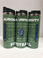 Impact Stainless Travel Tumbler 14 oz. Football design #9009_18 AU interlocking logo in Center - SPARTANS in endzone (3 shown for display purposes)