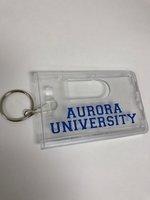 ID Holder - Rigid Easy Slide 2-Card holder clear - Aurora University in RY along bottom