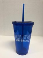 Slurpie Tumbler 16 oz. Blue w/ design #3020_18 - AURORA outlined in White arched over UNIVERSITY in full White arched