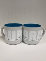 Sky Blue Minolo Mug - 14OZ White Mug with Sky Blue interior - Features Aurora wrapped around mug & AU in Black Script