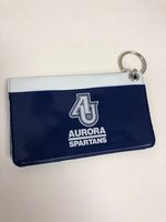 Vinyl ID Holder with Keyring - Features Two interior pockets and one outside pocket - AU interlocking letters over Aurora Spartans