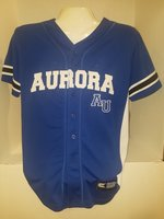 Baseball Jersey - Strike Zone - RY w/WH side panels. Button-down, 'Aurora' emb WH across on front; 'Spartans' emb. black on back