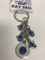 Dangle key ring- 4 AU charms and 1 seal charm- silver with white & royal imprint