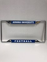 License Plate Frame - Football - Color Max License Plate Frame - Aurora University on Top Football on Bottom