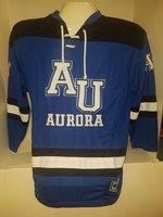 Open Net Hockey Sweater - White AU Aurora block letters, b&w striped hem & sleeves