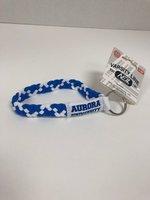 Stretchy Wristlette Royal Blue & White Interlocking AU Logo