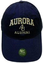 Alumni Adjustable Hat - EZA washed twill adjustable hat Royal blue w/ Aurora emb arched over interlocking AU over Alumni