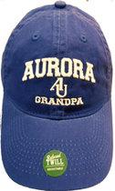 Grandpa Hat EZA washed twill adjustable hat Royal blue w/ Aurora emb arched over interlocking AU over Grandpa