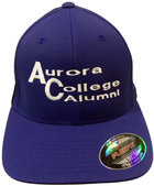 Aurora College Alumni Fitted Hat Royal cap with Aurora College Alumni embroidered on front