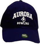 Bowling Hat EZA washed twill adjustable hat Royal blue w/ Aurora emb arched over interlocking AU over Bowling