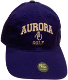 GOLF EZA washed twill adjustable hat Royal blue w/ Aurora emb arched over interlocking AU over golf