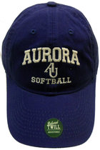 Softball Adjustable Hat - EZA washed twill adjustable hat Royal blue w/ Aurora emb arched over interlocking AU over Softball