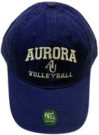 Volleyball Hat EZA washed twill adjustable hat Royal blue w/ Aurora emb arched over interlocking AU over VOLLEYBALL