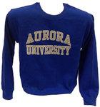 Crew Sweatshirt - Basic Design - CC Aurora University imprint Gray outlined in White