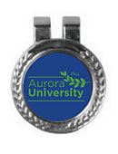 Golf Clip & Magnetic Ball Marker - Ball Marker features AU Leaf Logo in Green on Royal Blue