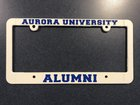 License Plate Frame, White Plastic Molded with Aurora University Alumni in Royal