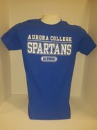 Aurora College Alumni short sleeve t-shirt Aurora College over SPARTANS over Alumni