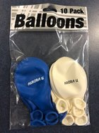 Balloon 10pk Royal & White balloons 'Aurora U'