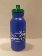 Bike Bottle 20 oz. Royal Blue Bottle with Kelly Green Lid, Full AU Leaf Logo in White