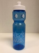 Blue Water Bottle - 28OZ Pete Bottle - Twist off Top - Top features AU interlocking letters - Bottom features Aurora University