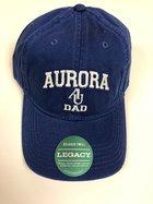 Dad Hat EZA washed twill adjustable hat Royal blue w/ Aurora emb arched over interlocking AU over DAD