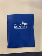 AU Imprinted 2 Pocket Folder Laminated Cover Leaf Logo