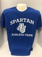 SAP T-Shirt with Spartan Athletic Park screen AU logo - (Royal Blue shirt w/ White Lettering)