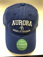 School of Business Hat EZA washed twill adjustable hat Royal blue w/ Aurora emb arched over interlocking AU over School of Business