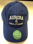 Nursing Hat EZA washed twill adjustable hat Royal blue w/ Aurora emb arched over interlocking AU over SCHOOL OF NURSING