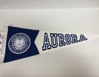 Pennant - split royal/white w/seal 12 x 30