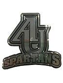 AU Auto Emblem - AUinterlocing over Spartans in Chrome Sliver