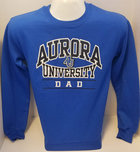 Aurora University DAD Crew Sweatshirt Aurora University over DAD over AU Interlocking Logo