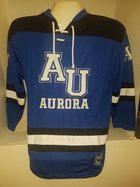 Open Net Hockey Sweater - White AU Aurora block letters, b&w striped hem & sleeves
