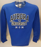 Aurora University MOM Crew Sweatshirt Aurora University over MOM over AU Interlocking Logo