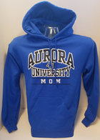 Aurora University MOM Hooded Sweatshirt Aurora University over MOM over AU Interlocking Logo