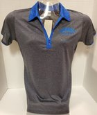Women's Polo Heather Graphite w/ Royal Trim on Collar Aurora University emb. on left chest